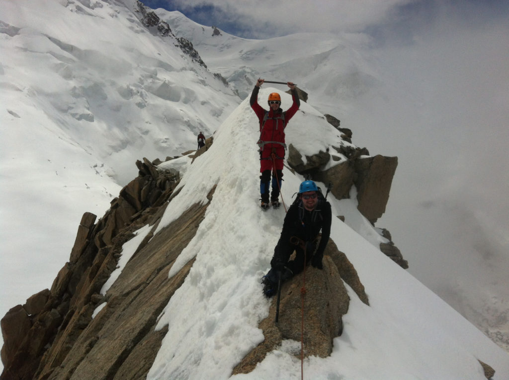 Cosmiques ridge (with crampons, ice axe and my Petzl helmet), Mont Blanc massif, 2013