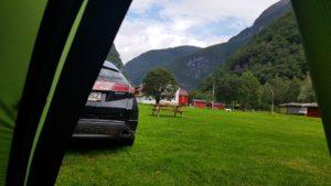 Trezirea într-un camping din Norvegia în Øvre Årdal